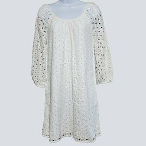 Crown and Ivy White Cotton Embroidered Eyelet Lace Shift Dress 4